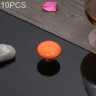 シンプルライフ、ライフアシスタント 10 PCS 32mmの現代文学色の艶をかけられた陶磁器のキャビネットの引出しのハンドル(黒)、引出しのキャビネットの家具および家のドアおよび窓のために適した。 (色 : オレンジ)