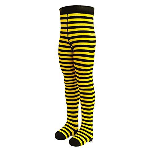 VEGATEKSA Baby und Kinderstrumpfhose für Mädchen und Jungen mit Streifen in Schwarz/Gelb aus Gekämmter Baumwolle, MADE IN EU, Verstellbare Taille, Tunel Gummi (98-104cm)
