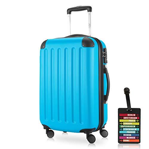 Hauptstadtkoffer - Spree Handgepäck Kabinentrolley Bordgepäck Hartschalen-Koffer, sehr leicht, TSA, 55 cm, 42L, Cyan Blau inkl. Design Kofferanhänger