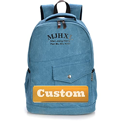 Mzhizhi Personalizzato Nome Casual Daypack Kidbackpack Leggero Carry on Zaino Nylon (Colore: Blu, Taglia : Taglia Unica