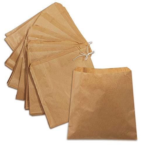200 x Brown Strung Kraft Paper Food Bags Food use, Groceries, Sandwiches Fruit Bags etc   DHANZIPAK (8.5x8.5inch)