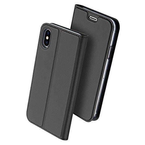 Preisvergleich Produktbild Conie EF2367 Electroplated Flip Case Kompatibel mit iPhone X / XS,  PU Leder Hülle Flip Wallet Cover Kartenfächer Standfunktion Magnetisch für iPhone 10 Etui Deep Black