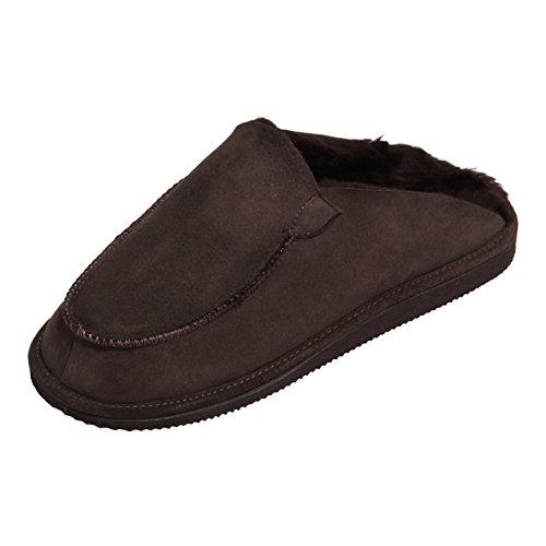 Hollert Leather Lammfell Hausschuhe Peter Premium Herren Hausschuhe aus 100% Merino Schaffell Größe EUR 45, Farbe Braun
