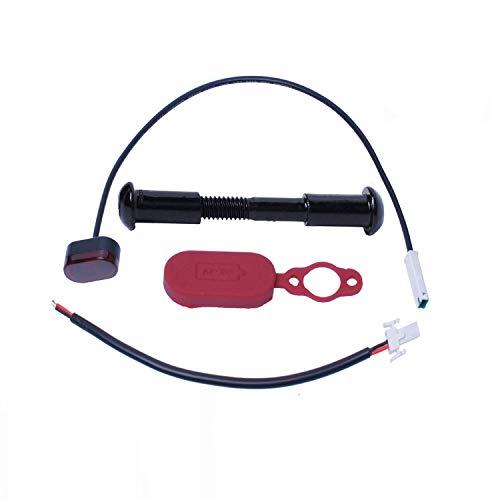 Poweka Scooter Luz Trasera para Xiao-mi Mijia M365 Patinete Electrico con Conector de Cable de Luz Trasera Tornillo de Perno Fijo Tapa del Puerto de Carga