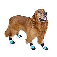 YULINGTRADE 反スリップの耐久力のあるオックスフォード ペットは中型および大型犬の防水滑り止めの暖かい犬の靴を靴に入れます (色 : 青, サイズ : XL)