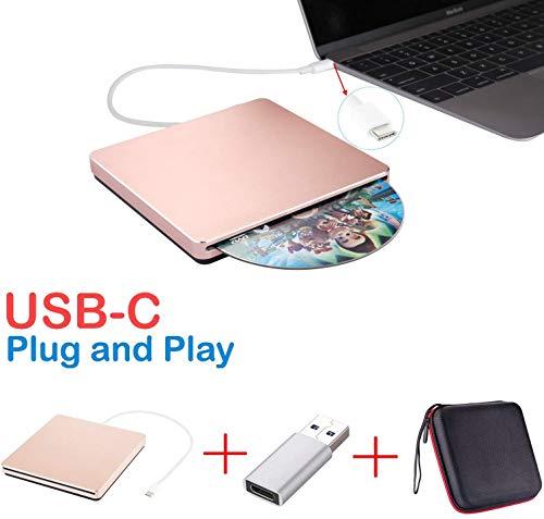 DOOK Externes CD DVD Laufwerk, Portable Slim CD Brenner mit USB 3.0/Type-C, niedriger Lärm/Plug&Play Kompatibel für alle Laptops, Desktops, Macs, MacBooks, Windows 10/8/7/XP und Linux,Rose
