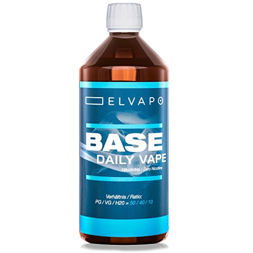 Elvapo BASE - Daily Vape | 1000ml / 1L | 50/40/10 (PG/VG/H2O) | Basisliquid für das Mischen von E-Liquids mit Aromen (für E-Zigaretten/E-Shishas) | 0mg (ohne Nikotin) | Liquid-Basen Made in Germany!