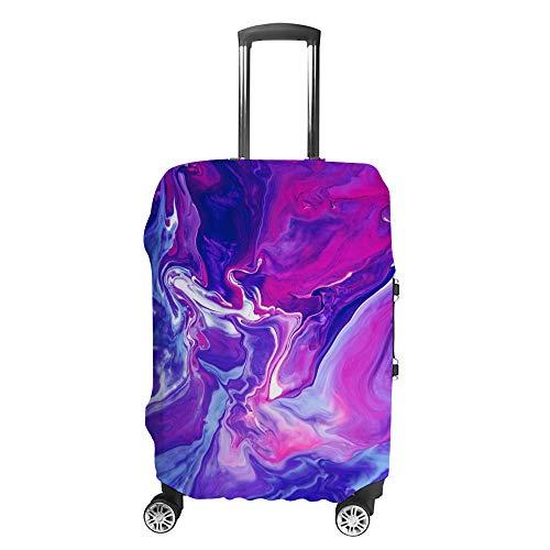 Cubierta de equipaje de viaje Anti-Scratch Maleta Protector de equipaje Caso de pintura acrílica Líquido en Tendencia Púrpura y Azul Mezcla de Fondo Ajuste Lavable Accesorios A Prueba de Polvo S