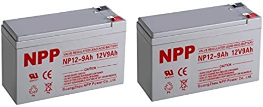 NPP NP12-9Ah 12V 9Ah Sealed Lead Acid Rechargeable Battery With F2 Style Terminals / (2pcs)