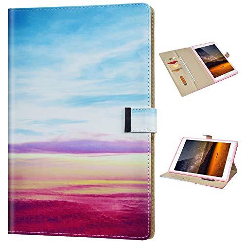 Funda Compatible con Huawei MediaPad T3 10.0 Funda para Tablet PC Diseño Billetera Flip PU Cuero Patrón Elegante Carcasa Tarjeta Magnético Case Soporte Plegable Cubierta Protector Cover,Arcoiris
