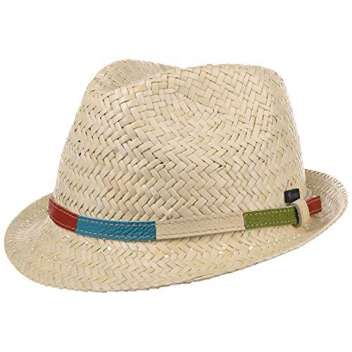 Lipodo Colour Band Kinder Strohhut - Handmade - Made in Italy - Kinderhut aus 100% Stroh für Mädchen & Jungen - Leichter Sommerhut mit Buntem Lederband - Sonnenhut Frühling/Sommer Natur 55 cm
