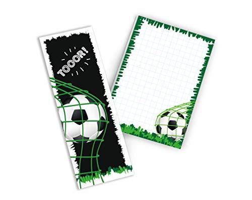 8 Lesezeichen + 8 Notizblöcke Fussball Fußball Mitgebsel Gastgeschenk beim Geburtstag Kindergeburtstag Jungen