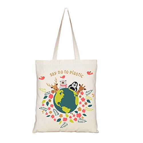 Eono Bolsos Tote Para Mujer, Bolsas de la compra Reutilizables, De Lona Bolso Bandolera, Algono Bolsas de Supermercado, Regalo Tote Bag, Bolsa de Playa, Bolsa de Hombro, Bolsa de Libros | 0101A04