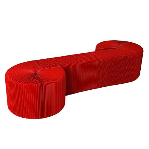 Faltbare Stretch Stuhl und Sofa ,Wohnmöbel Weiche Sitzmöbel Modernes Design Akkordeon Faltpapier Hocker Sofa Stuhl Kraftpapier Entspannender Fuß Hocker-Mode Design, Ideal für Schule, Küche, Wohn,Red