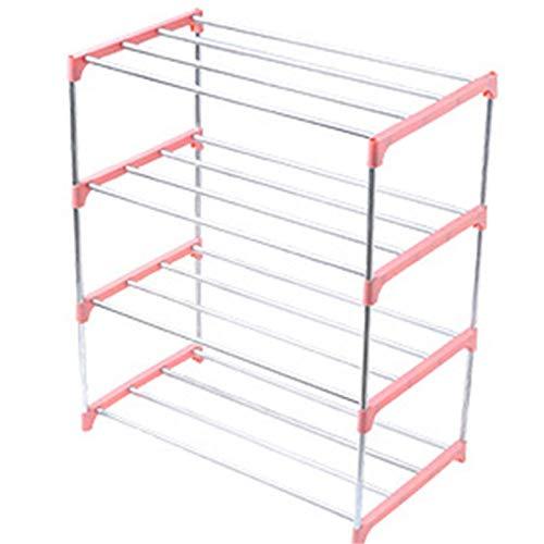 Lzcaure Zapatero apilable de 3/4 niveles, para ahorrar espacio, organizador de almacenamiento de zapatos de pasillo, sala de estar y baño (tamaño: como se muestra; color: rosa 4 niveles)