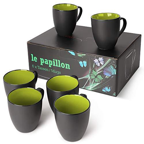 MIAMIO - 6 x 350 ml Kaffeetassen/Kaffeebecher Set Außen Schwarz Innen Farbig (Grün)