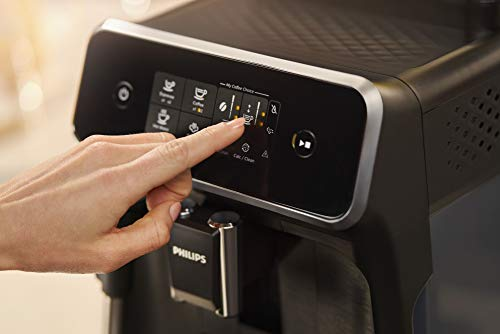 Philips 2200 Series Fully Automatic Espresso Machine w/ Milk Frother, Black, EP2220/14 4 Easy selection of your coffee with intuitive touch display, makes espresso, hot water and coffee From fine to coarse thanks to the 12 step grinder adjustment 20,000 cups of finest coffee with durable ceramic grinders