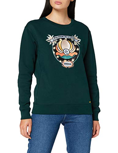 Scotch & Soda Maison Womens Crewneck with Various Artworks Sweater, Lagoon Green-3613, L
