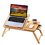 BMH 100% Natural Bamboo Foldable Laptop Desk Adjustable Height Bed Tray Table with Drawer for Eating and Reading Ipad Computer Lap Desk