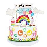 iZoeL Tortendeko Einhorn Geburtstag Kuchen Regenbogen Happy Birthday Girlande Luftballon Wolke Kuchen Topper für Kinder Mädchen Junge - 3