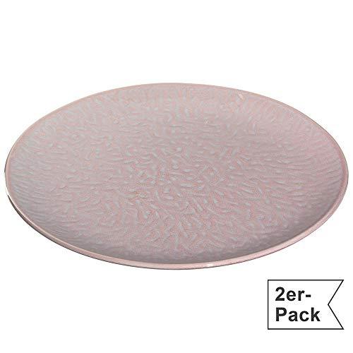 Leonardo Matera Keramik-Teller 2-er Set, spülmaschinengeeignete Speise-Teller, Essteller mit Glasur, 2 runde Steingut-Teller, Ø 27 cm rosa, 021984