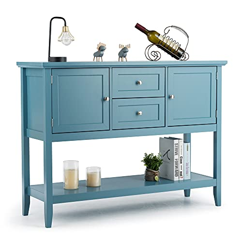 LOKO Buffet Cabinet with Storage, Multifunctional Console Table with Ample Storage Space, Sideboard with Drawers for Kitchen, Dining Room, Dining Room or Entryway, 46 x 15 x 34 inches (Blue)