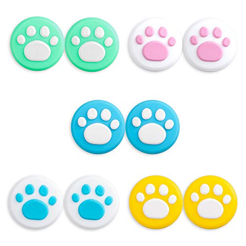 RGEEK 10PCS Cute Cat Claw Joystick Thumb Caps for Nintendo Switch & Switch Lite, Thumb Stick Grips Analog Stick Cover, Soft Silicone for Joy-Con Controller