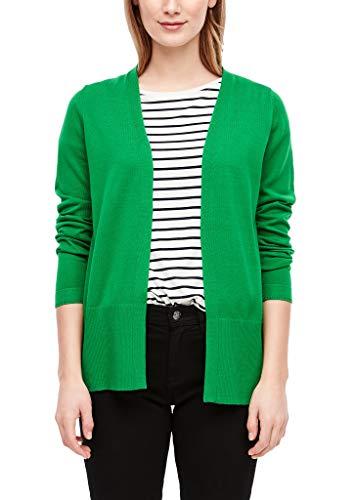 s.Oliver Damen Strickjacke mit breiter Rippblende Green 34