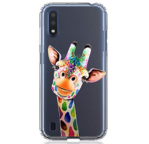HUIYCUU Compatible with Galaxy A01 Case 5.8', Shockproof Anti-Slip Cute Rose Animal Print Clear Design Pattern Funny Slim Crystal Soft Bumper Girl Women Cover Case for Samsung Galaxy A01, Giraffe