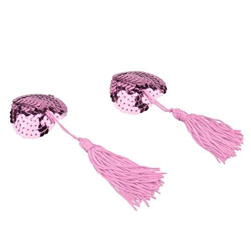 ZYD 1 Paar Sexy-Nippel Bedeckt Mit Quasten Herz-Geformte Nippel Aufkleber Pasties Chest Aufkleber,Rosa