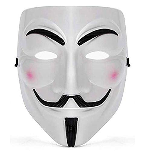 IDOXE V Purge Mask Halloween Anonymous Masquerade Masks for Teens Aults Men Fancy Cool Costume Cosplay Party Decorations Accessory White(White Anime)