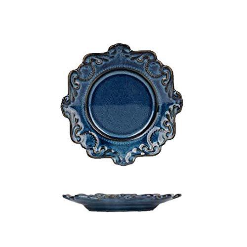 Azul y negro Cena de cerámica placa, plato de porcelana ant