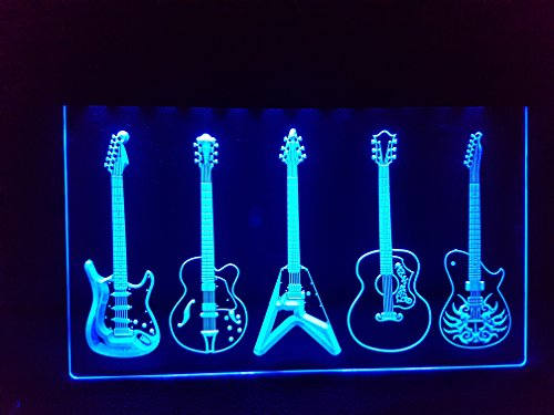 Guitars Gitarren/ Gitarre Leuchtschild NEON Neonschild LED Neu Schild Laden Reklame