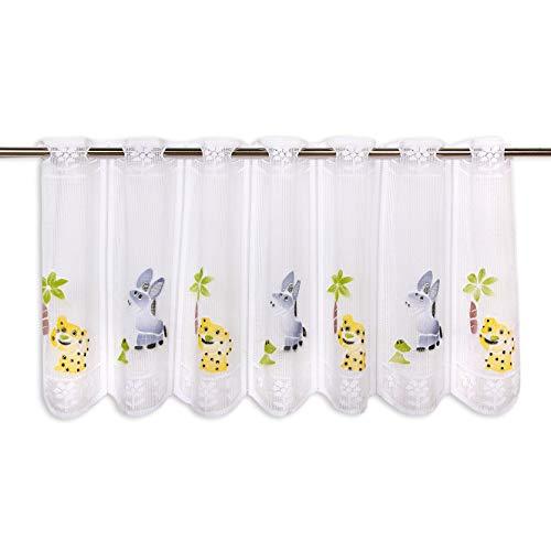 Scheibengardine FUNNY ANIMALS, 45x87 cm, lustige Kinder Gardine für das ganze Jahr, moderne weiße transparente Bistrogardine für das Kinderzimmer
