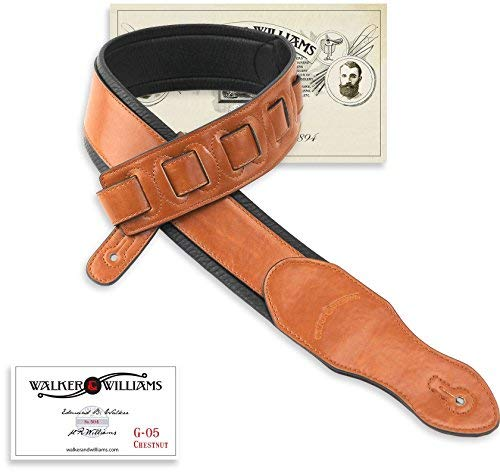 Walker & Williams G-05 Chestnut Brown Padded Guitar Strap Soft Glove Leather Back