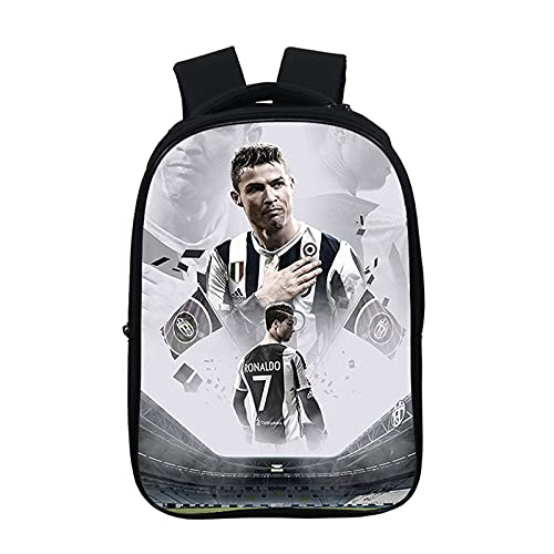 Mochila Cristiano Ronaldo para niños, para estudiantes de regreso a la escuela, ligera, para aficionados al fútbol, Patrón 8, Taille unique