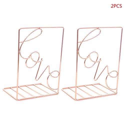 CADANIA 2 Piezas/par Creative Love Shaped Metal Bookends Soporte de Almacenamiento de Escritorio Estante Organizador de Libros Soporte Rose Gold