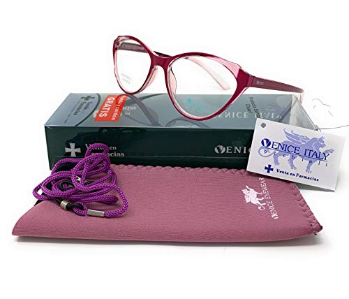 Gafas de lectura, presbicia, vista cansada, Diseño en 3 Colores. VENICE ANGELINA - Dioptrías: 1 a 3,5 (Lila, +3,00)