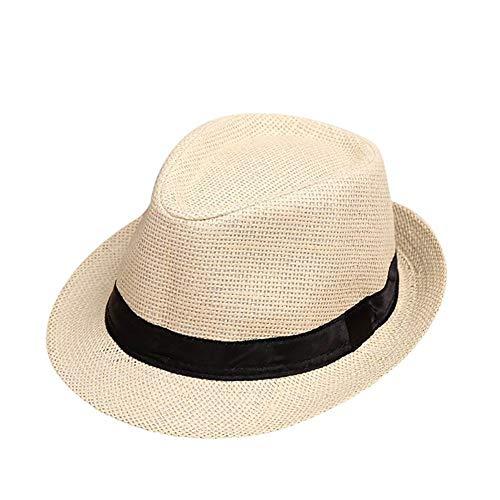 De los niños del casquillo respirable Sombrero de sol de playa del verano del sombrero de paja del jazz del sombrero de Fedora británica sombrero del bebé Niño Niña Visera Sombrero de sol hombres y mu
