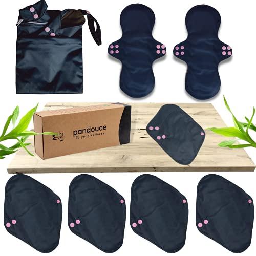 8 Serviettes Menstruelles Hygiéniques Lavables Réutilisables- Protège-slips Absorbant- Flux abondant/léger- Maternité- A base de bambou, avec Sac de Transport - Entreprise familiale française