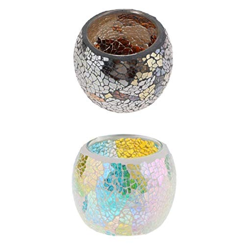 Kerzenständer Kerzenhalter 2ST Glitter Patch-Mosaik-Kerze-Teelichthalter Kerzenleuchter Startseite Hochzeit Partei-Dekoration Bunte Votiv-Kerzenhalter Chihen1225