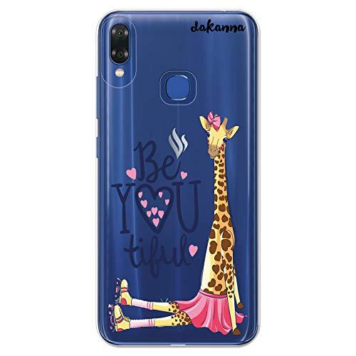 dakanna Transparent Hülle für [Bq Vsmart Joy 1 Plus] Flexible Schutzhülle, Design Giraffe mit Schlittschuhen, Herzen und der Phrase Be You Tiful, Klar TPU Case Cover Handyhülle Kompatibel mit Bq Vsma