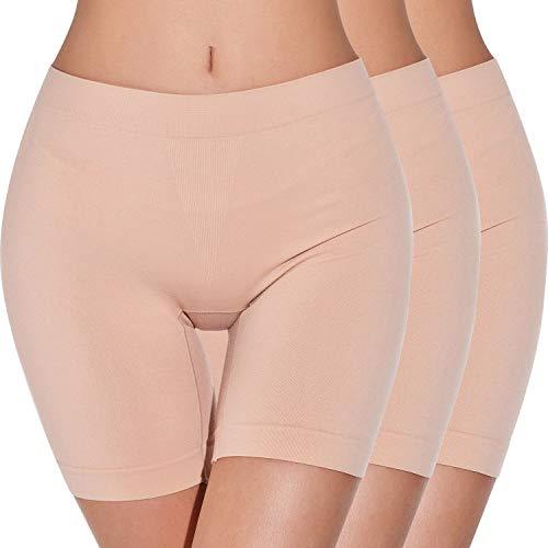 Unter Rock Boxershorts Damen Unterhosen Kurz Hose Lange Frauen Panties Slipshorts Kurze Leggings Hotpants Miederpants,Hautton*3,L