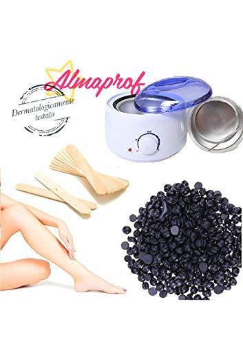 kit black wax scaldacera + 500gr cera nera indolore made in italy + 10 spatole legno SUPER OFFERTA