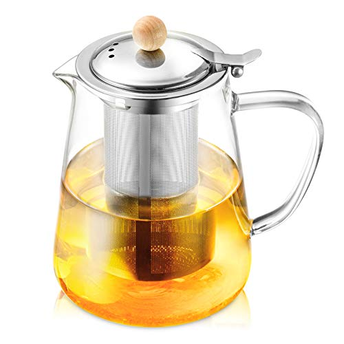 HIHUOS 950ml Glass Teapot with Stainless Steel Infuser & Lid, Flower Tea Kettle Stovetop Safe, Blooming & Loose Leaf Tea Pot