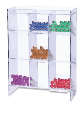 Clearform ML7100 Clear Acrylic Tube Rack with 9 Compartments, 16' H x 12' W x 5.5' D