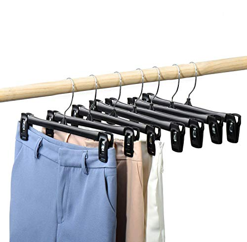 HOUSE DAY Pants Hangers 50 Pcs 12inch Black Plastic Skirt Hangers with Non-Slip Big Clips and 360 Swivel Hook Durable Sturdy Plastic Space-Saving Shape Elegant for Closet Organizing