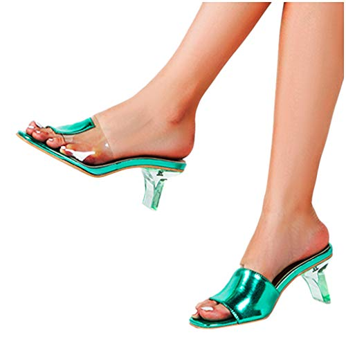 Discover Bargain haoricu Womens Open Toe Sandals Summer Fashion High Heeled Sandals Ladies Transpare...