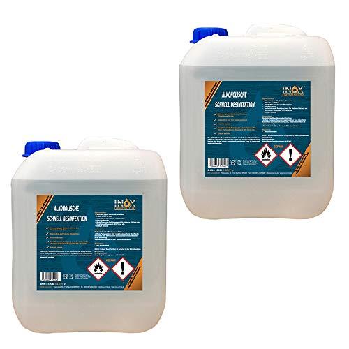 INOX® Hände & Flächen Desinfektionsmittel mit Alkohol, 2 x 5L - Entfetter Desinfektion für Hand, Haut und Flächen