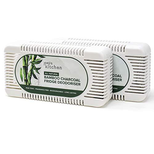 2 absorbe olores nevera de carbón de bambú para su refrigerador | Quita olores nevera ecológico (2 piezas) | Ambientador nevera hecho de bambú natural